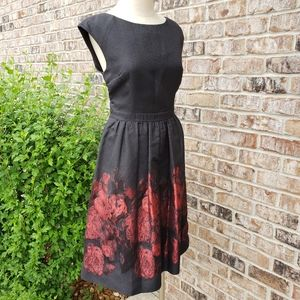 Cynthia Steefe Fit and Flare Red Black Dress 10
